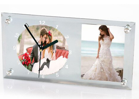Ceas sticla dreptunghi 30x16 cm - personalizat cu doua poze [1]
