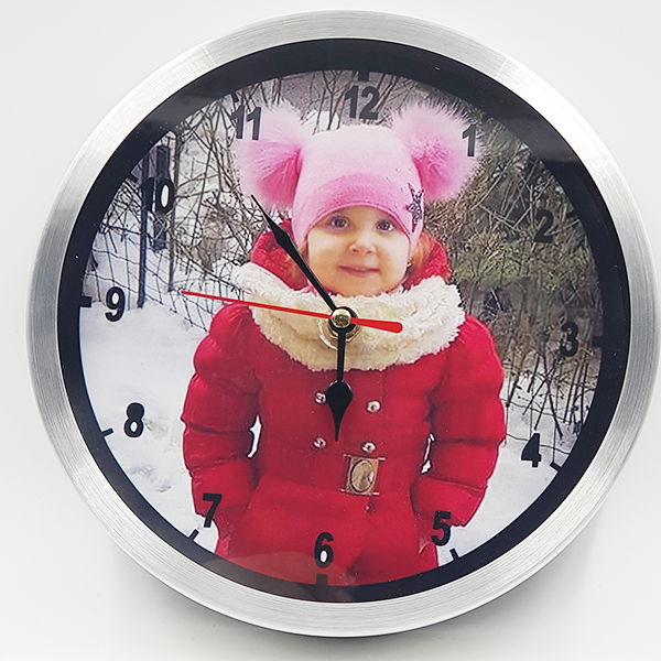 Ceas rotund 20 cm aluminiu -  personalizat cu insertie foto 0