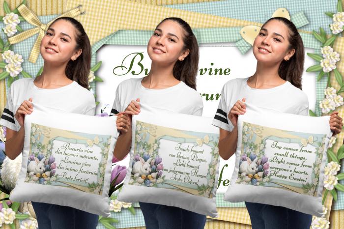 Perna patrata personalizata cu mesajul - Paste Fericit! Multilingvistic 3