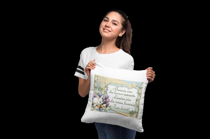 Perna patrata personalizata cu mesajul - Paste Fericit! Multilingvistic 5