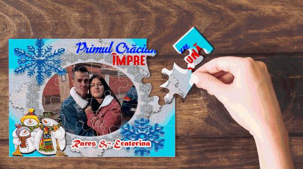 """Puzzle personalizat cu poza si / sau mesaj """"Primul Craciun"""" 0"""