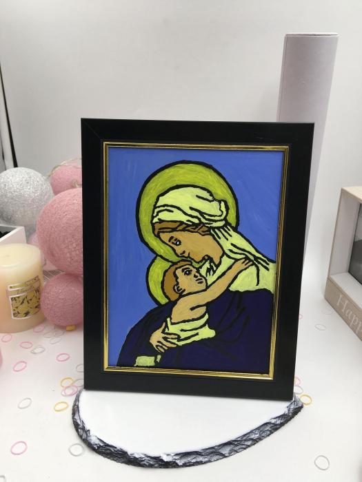 Icoana pe sticla pictata manual - Fecioara Maria cu Pruncul [1]