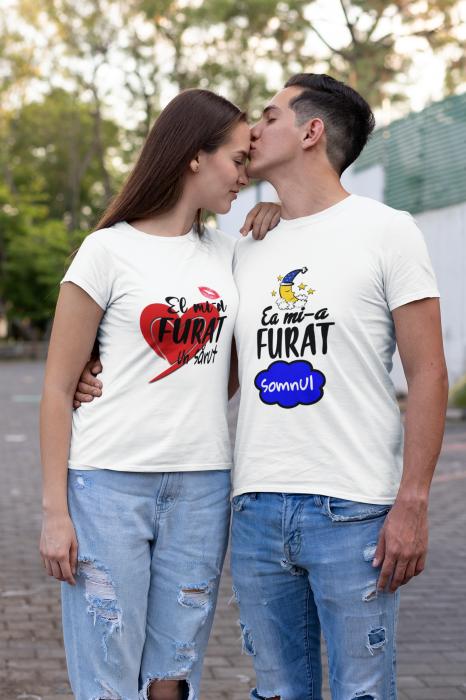 Set tricouri cuplu personalizate mesaj - El mi-a furat un sarut / Ea mi-a furat inima [0]