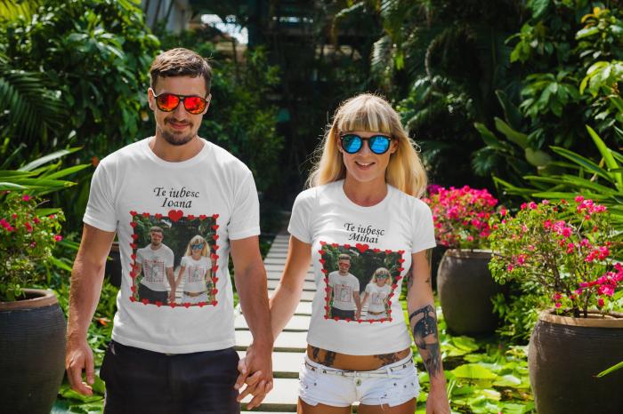 Set tricouri cuplu personalizate cu poza si mesaj - Te iubesc [0]