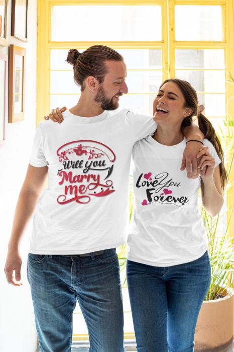 Set tricouri cuplu personalizate mesaj - Marry me / Love you forever [0]