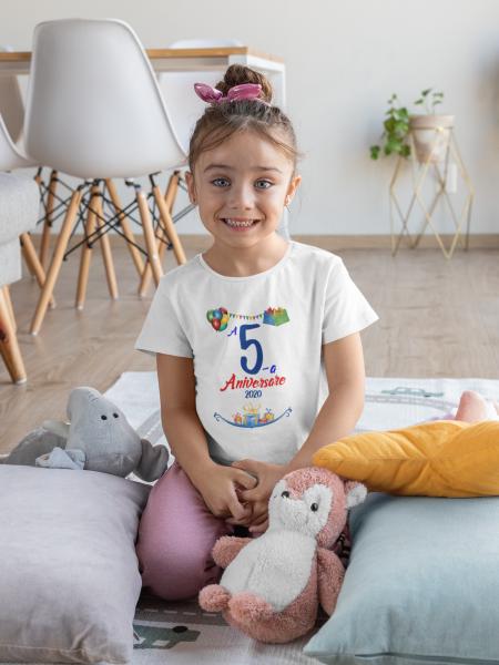 """Tricou alb de copii personalizat cu mesajul """"Aniversare"""" [1]"""