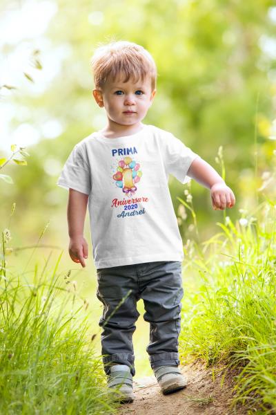 "Tricou alb de copii personalizat cu mesajul ""Prima aniversare"" [0]"