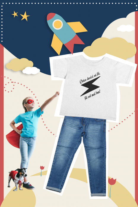 Tricou pentru copii personalizat cu text - Fii cel mai bun 1