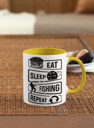 Cana personalizata cu poza / mesaj - Pescar - Eat, sleep, fishing, repeat [2]