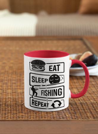 Cana personalizata cu poza / mesaj - Pescar - Eat, sleep, fishing, repeat [1]