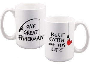 "Set cani personalizate cu mesaj ""Best Fishing""0"