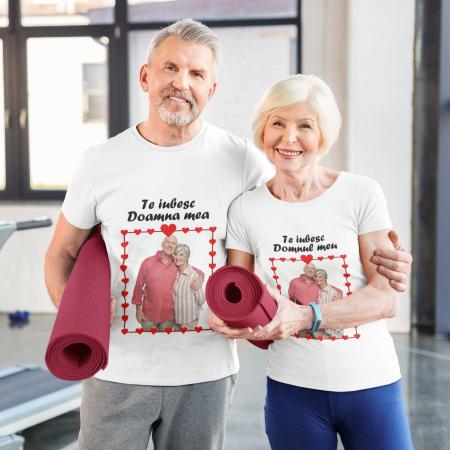 Set tricouri cuplu personalizate cu poza si mesaj - Te iubesc [1]
