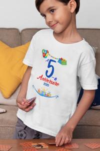 """Tricou alb de copii personalizat cu mesajul """"Aniversare"""" [0]"""