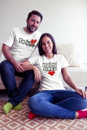 Set tricouri personalizate cu mesaj - Te iub / Hai ca nu-i greu1