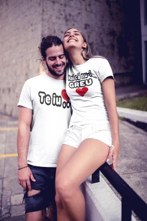 Set tricouri personalizate cu mesaj - Te iub / Hai ca nu-i greu2