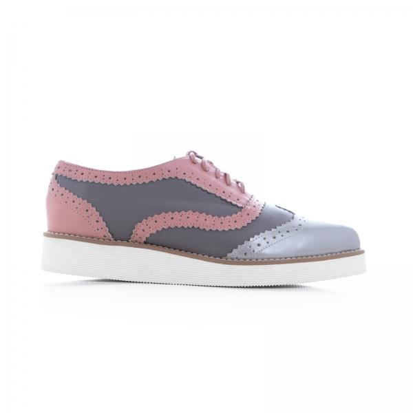 Pantofi oxford, din piele si piele lacuita in nuante de roz pal si gri 0