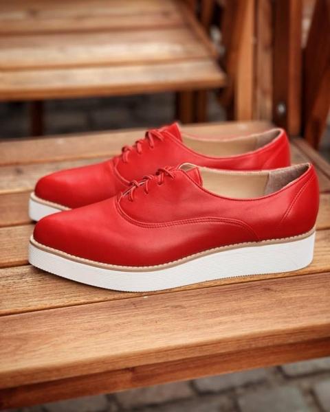 Pantofi oxford, din piele naturala rosie 1