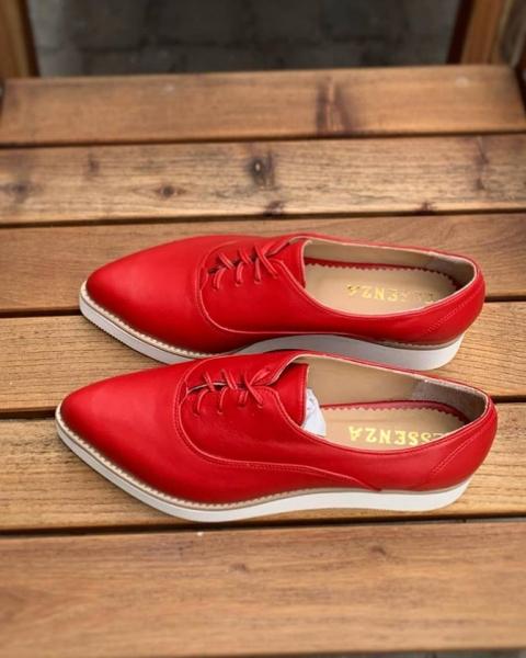 Pantofi oxford, din piele naturala rosie 2