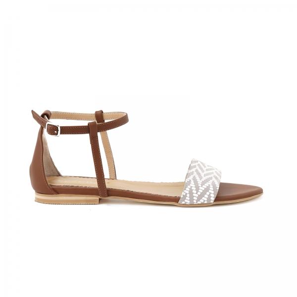 Sandale cu talpa joasa, din piele maron si piele alb/beige 0