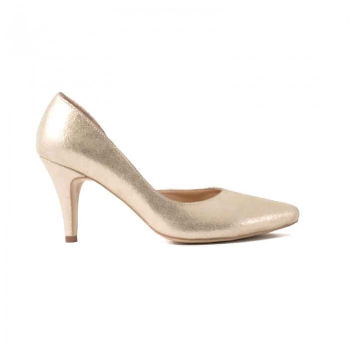 Pantofi stiletto din piele laminata, auriu texturat, cu decupaj interior 0