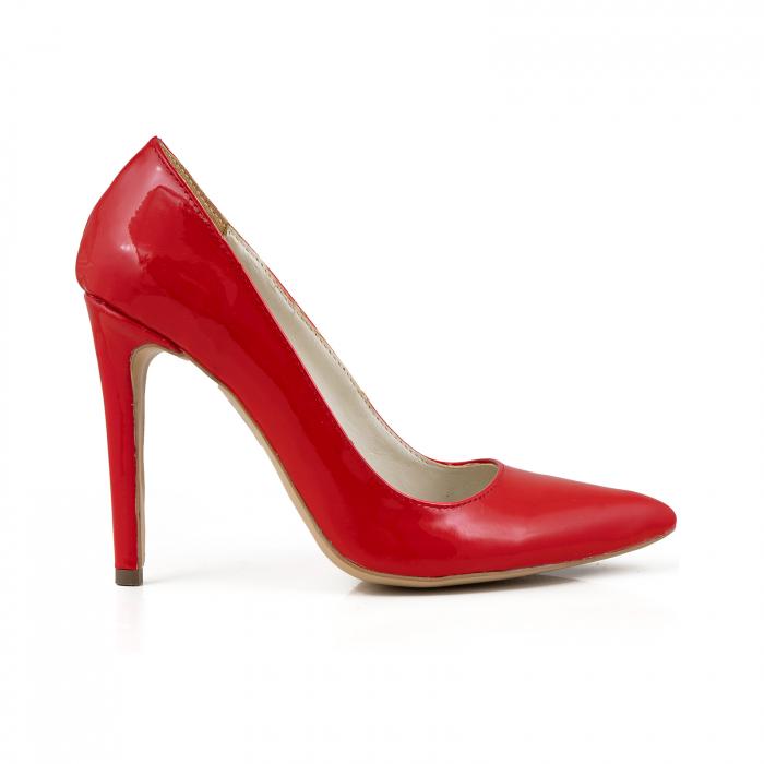 Pantofi Stiletto din piele lacuita rosie 0