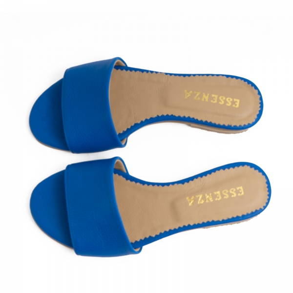 Flip flops din piele naturala albastru cobalt. 2