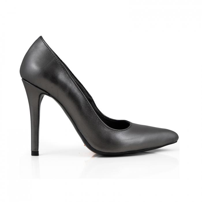 Pantofi Stiletto din piele naturala gri nchis platina 0