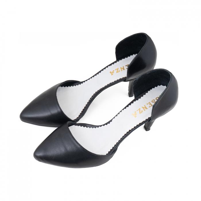 Pantofi stiletto decupati(interior/exterior), realizati din piele naturala neagra 2