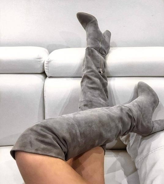 Cizme peste genunchi, din piele intoarsa gri 0