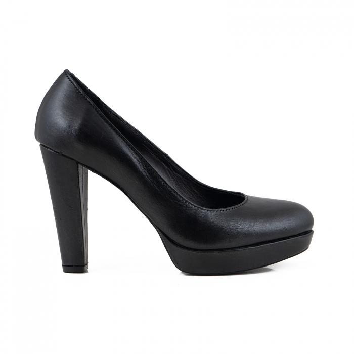 Pantofi din piele naturala neagra, cu toc gros si platforma 0