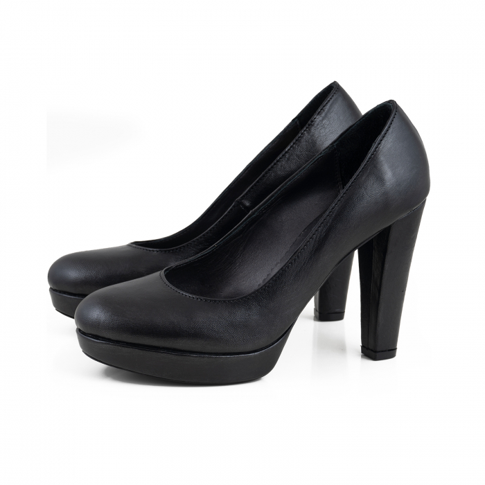 Pantofi din piele naturala neagra, cu toc gros si platforma 1