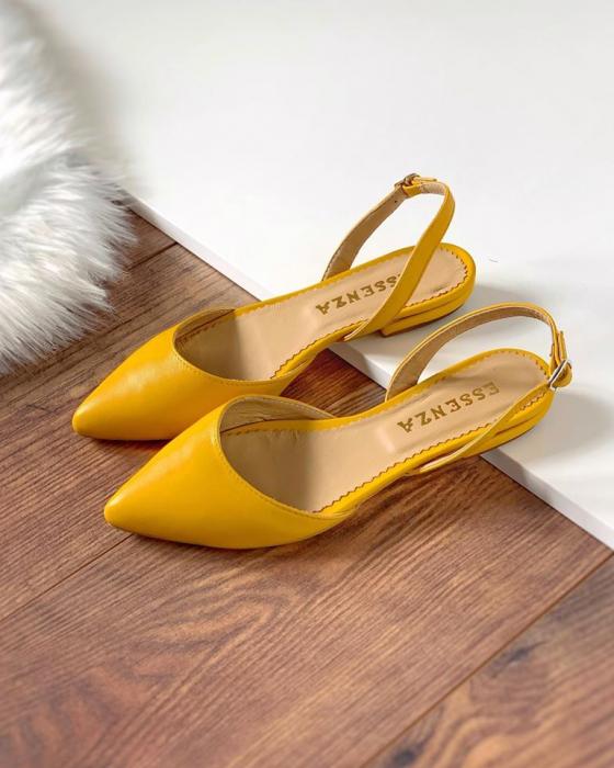Sandale cu varf ascutit , din piele naturala galbena 1