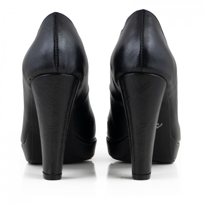 Pantofi din piele naturala neagra, cu toc gros si platforma 3