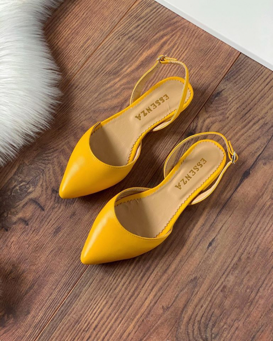 Sandale cu varf ascutit , din piele naturala galbena 2
