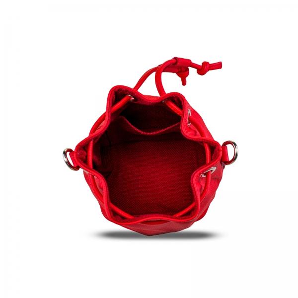 Poseta Kristy mini bucket  din piele naturala rosie 4