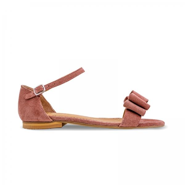 Sandale cu talpa joasa, din piele intoarsa roz somon, cu fundite 0