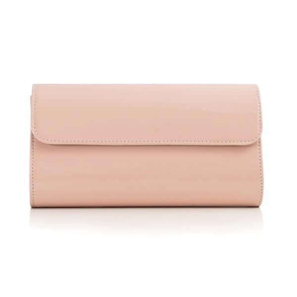Poseta plic Ina, din piele piele lacuita nude roze 0