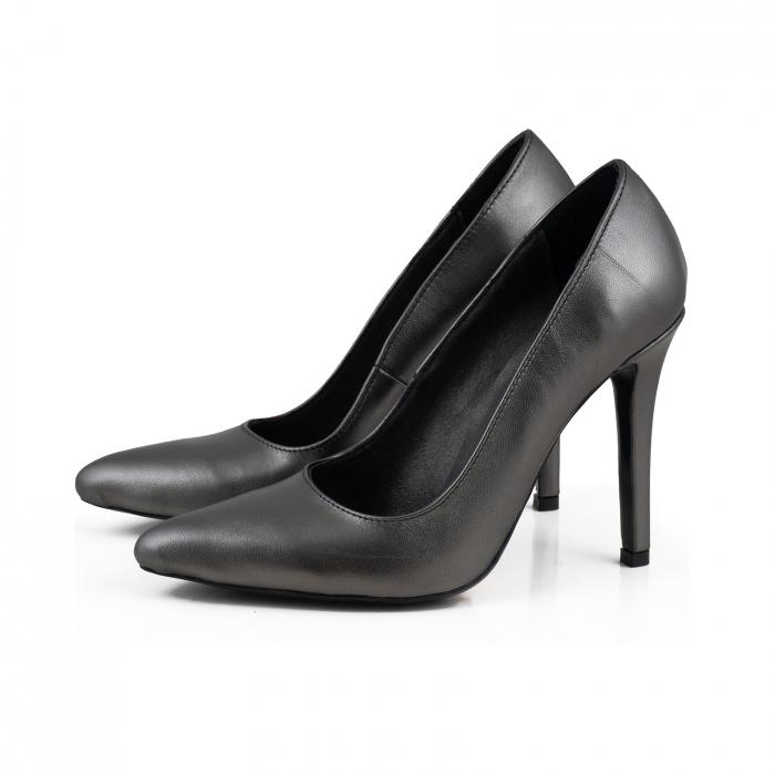 Pantofi Stiletto din piele naturala gri nchis platina 1
