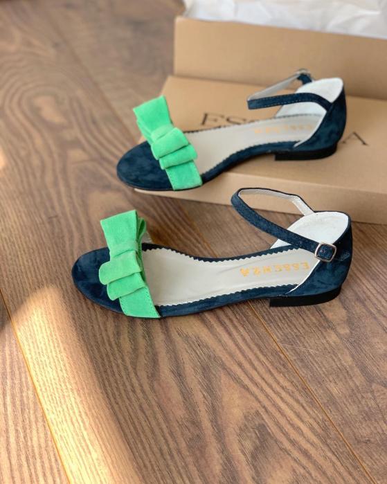 Sandale cu fundite, din piele naturala verde 0