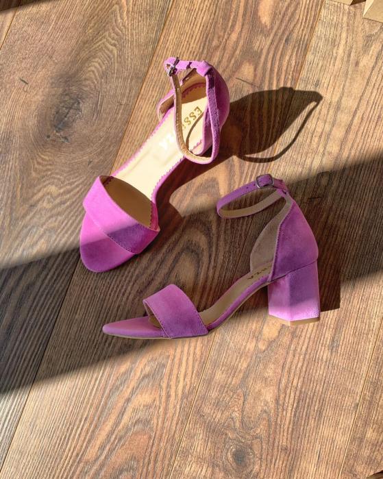 Sandale din piele naturala ntoarsa roz-lila, cu toc gros 0