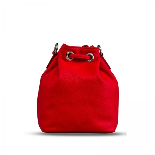 Poseta Kristy mini bucket  din piele naturala rosie 5