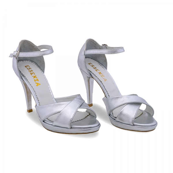 Sandale cu platforma, din piele laminata argintie 1