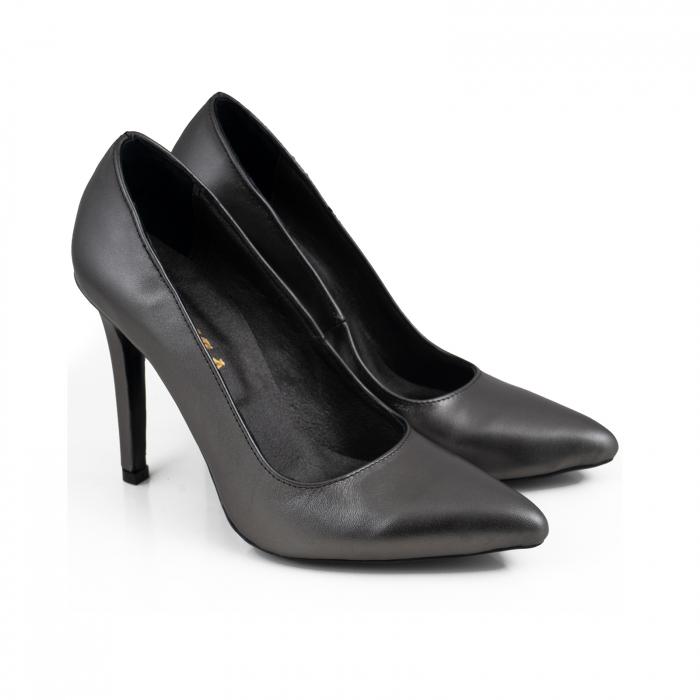 Pantofi Stiletto din piele naturala gri nchis platina 2
