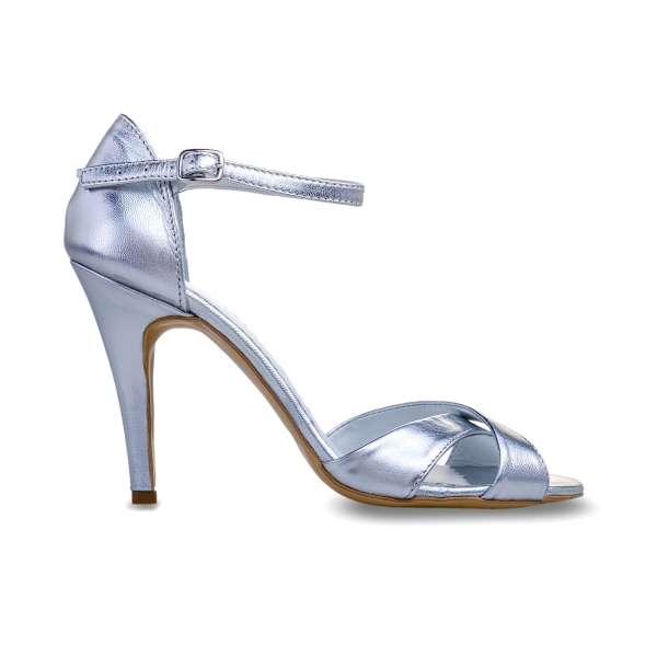 Sandale din piele laminata argintie 0