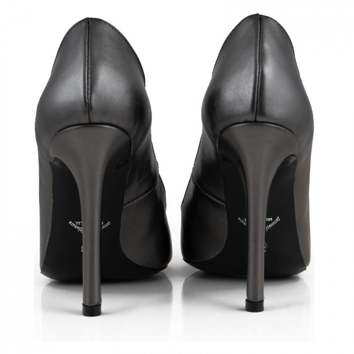 Pantofi Stiletto din piele naturala gri nchis platina 3