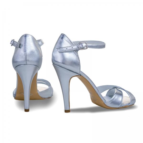 Sandale din piele laminata argintie 2