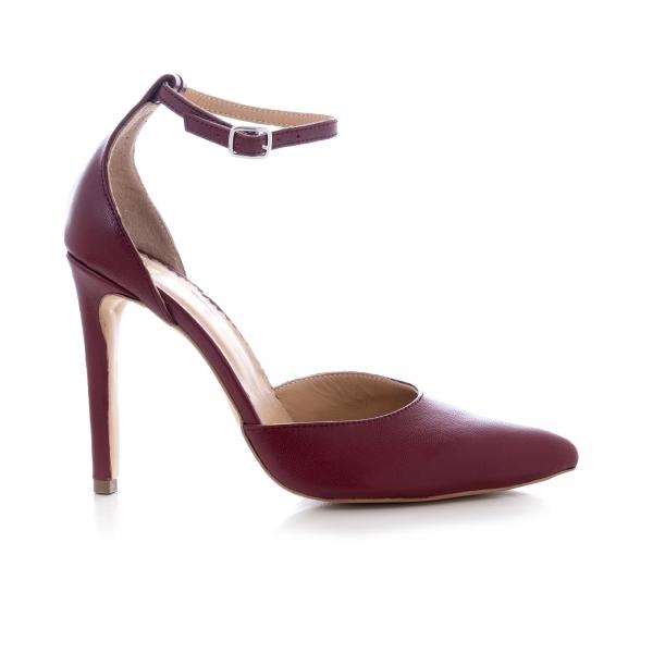 Pantofi din piele naturala de culoare visiniu [0]