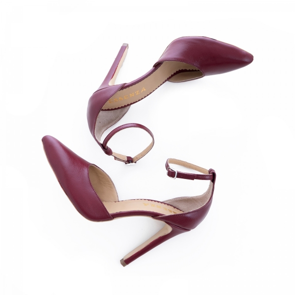 Pantofi din piele naturala de culoare visiniu [1]