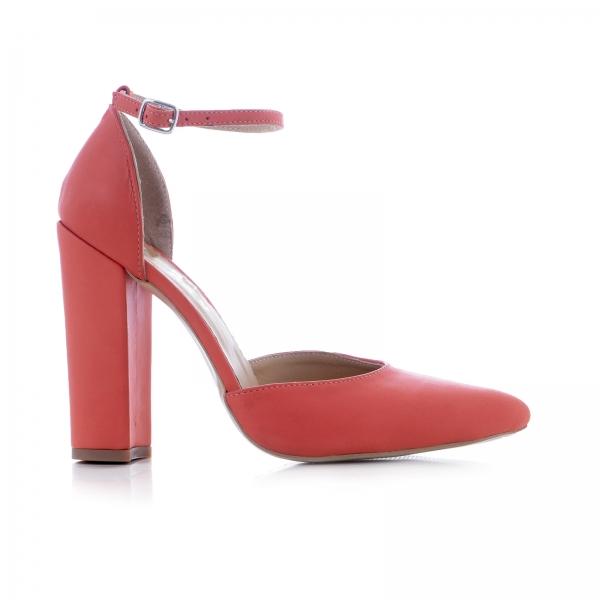 Pantofi din piele naturala de culoare somon 0