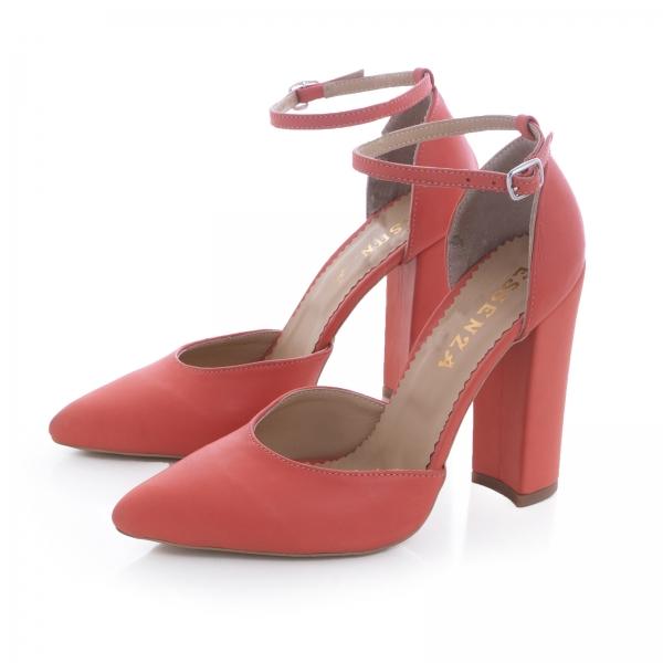 Pantofi din piele naturala de culoare somon 1